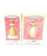 Lot of 2 Hallmark Keepsake Barbie Christmas Ornament 1997 Spring 1996 Easter