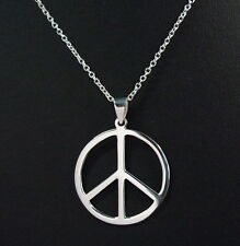 "NEW 925 Sterling Silver Peace Sign Symbol Charm Necklace 20"" Pendant 31 mm width"