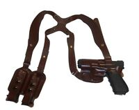 CUSTOM HAND FIT LEATHER HORIZONTAL SHOULDER HOLSTER RIG BROWN RH RIGHT RUGER P89