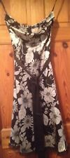 NEW JANE NORMAN STRAPLESS BLACK AND MUTED GOLD FLOWER  PRINT DRESS SIZE 8