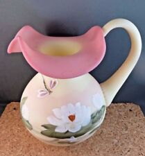 """Vintage Signed Fenton Burmese Glass Serving Pitcher Waterlily Lily Dragonfly 8"""""""