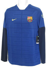 Nike Barcelona Entraînement de Football Pre Match Long À manches Maillot Bleu