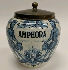 Vintage Hand Painted Delft Blue Holland Amphora Tobacco Jar And Lid