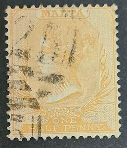 1863 Malta ½d Dull Orange QV Victoria Used A25 Perforation 14 SG 7