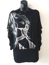 Arden B. Women's Black Silver Metallic Foil Applique Batwing Graphic Tee Size XS