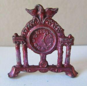 Antique Miniature DOLLHOUSE Mantle CLOCK Painted Metal EAGLE