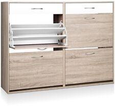 Shoe Cabinet  4 Shoe Storage Cupboards Adjustable Level Shelves for 36 Pairs