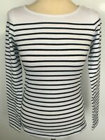893f78aefc Ladies French Breton Style Summer Holiday Casual Top Blue Striped Long  Sleeve