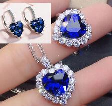 Cristal Corazón Colgante Collar Cadena De Plata Esterlina 925 Joyería para Mujer