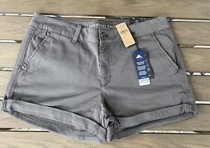NWT American Eagle AEO Twill Midi Low Rise Shorts Dark Gray Grey - Women Size 16