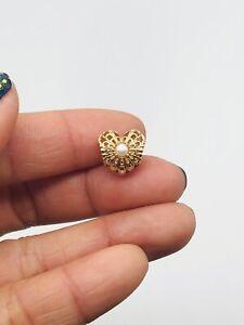 Vtg PANDORA Solid 14k Gold G585 ALE Openwork Culture Pearl Heart Charm 2.2g