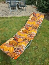 vintage 70s retro floral sun lounger chair Bed beach camping .Kitsch orange 60s