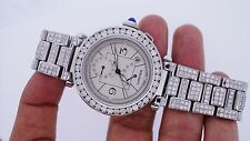 Unused 18.00 Diamonds Cartier Pasha Watch 2388 GMT White dial Box & Paper Video