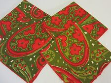 Set/4 Mid Century Mod VERA Red & Olive Green PAISLEY 17 In Square COTTON NAPKINS