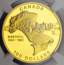 "1992, Canada. Beautiful Gold 100 Dollars ""Montreal"". A Perfect Coin! NGC PF-70!"
