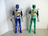Power Rangers Blue & Green Dino Super Charge with Weapons Action Figure Lot 12""