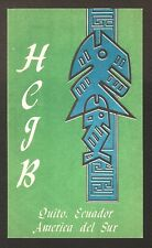 "QSL ""HCJB"" 11.765 MHz Radio Quito S A Primitive Art Shortwave DX SWL 1969"