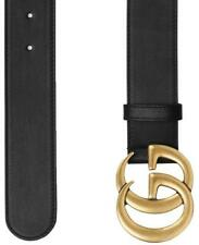 NEW GUCCI BLACK LEATHER MARMONT LARGE DOUBLE G BUCKLE BELT 85/34 100% AUTHENTIC