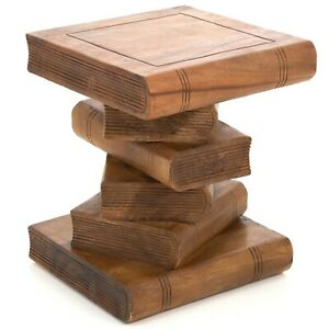 Rustic Solid Wooden Book Stack Side Table Plant Stand 40cm 16inch FU-418-WAXED