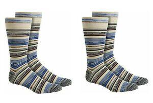 2 Pack Perry Ellis Men's Tencel Striped Crew Dress Socks Stone 7-12