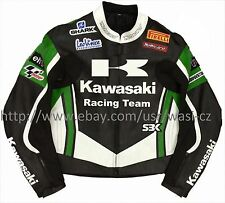 Men Black Green Kawasaki Racing Team Motorcycle leather Jacket XS to 6XL size