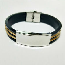 Unisex Fashion Leather Bracelet Stacking Wide Multi Row Layer Charms Wristband