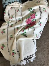 Hand Crochet Floral Print Afghan Lap Blanket Throw Roses Print Cross Stitch
