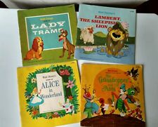 4 Vtg Walt Disney Childrens Books Alice Grasshopper & Ants Lady & Tramp Lambert