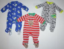 LOT of 3 Newborn Baby Boys One-Piece Fleece Footed Pajama Jumpsuits NB Christmas