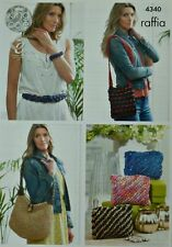 KNITTING PATTERN Belt Bracelet, Shoulder Bag, Slouchy Bag Raffia King Cole 4340