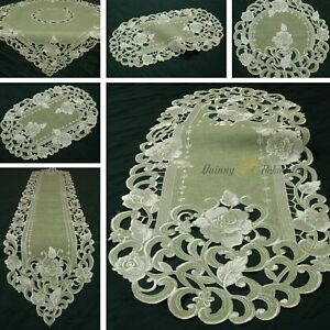 Rose Tablecloth Linen-look Table runner Doily Green-Beige with Flower Embroidery