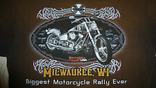 MILWAUKEE, WI. 2003 BIGGEST EVER MOTORCYCLE RALLY T-SHIRT (L) BROWNS