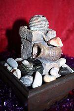 Indoor Tabletop Water Feature Zen Feng-Shui Vintage Look Battery Real Pebbles