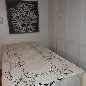 Battenburg Lace Tablecloth 112x64 Rectangular Farmhouse Romantic Cottage NOTE