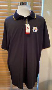 NWT ANTIGUA Black Pittsburgh Steelers Golf Polo Shirt Size XXL.           P13384