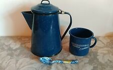 Blue Speckled Granite Ware Coffee Pot/ Mug / Spoon Set