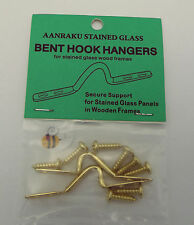 Aanraku Bent Hook HANGERS for Stained Glass Wood Frames Stylish Brass Accents