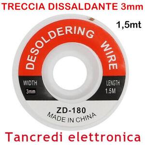 TRECCIA DISSALDANTE 3mm LUNGHEZZA 1,5M RETINA RETE SALDATURA STAGNO SALDANTE