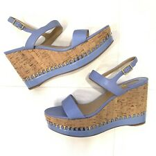 SALVATORE FERRAGAMO Patent Leather Satin Wedge Sandals Sz 39.5