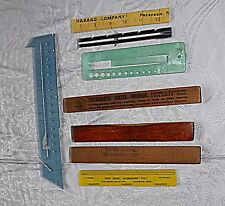 VINTAGE KNITTING & SEWING NOTIONS 5 MEASURES METAL LUCITE BAKERLITE 3 WOOD RUG