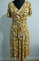 Nicole Miller New York Floral Mustard Brown jersey Dress Mock Wrap Size Small