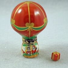 New French Limoges Trinket Box Christmas Balloon W Santa Claus Mrs Claus & Gift