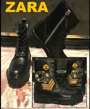 """ZARA WOMEN BLACK """"LEATHER"""" MILITARY ANKLE BOOTS wPATCHES Sz 4 BNWT RE 5158 101"""