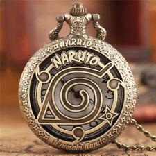 Bronze Pocket Watch Quartz Japanese Anime Necklace Pendant Men Women Xmas Gift