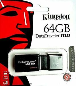 Kingston 64GB USB 3.0/2.0 Memory Stick Pen Drive For PCs, tablets, smart TVs