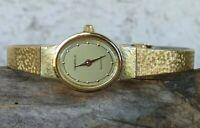 "Caravelle by Bulova 48L41 Gold Tone Watch Quartz New Battery 6"" Wrist PETITE"