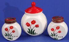 Vintage FIRE KING Vitrock RED TULIP Range Set: Grease Jar Salt Pepper