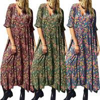 Mode Femme DeManche Loose Manche Courtes Col V Imprimé floral Longue Plus
