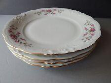 "4 Walbrzych ""Rosebud"" Dinner Plates W/ Gold Trim 10 1/4"""