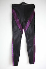 Jean Paul Gaultier shinny black w/purple detail Long leggings Pants I42/US8/UK10